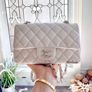 Authentic Chanel Mini Rectangular Caviar SHW